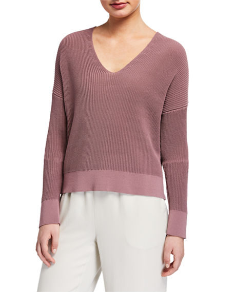 Eileen Fisher Plus Size Corded V-Neck Long-Sleeve Sweater