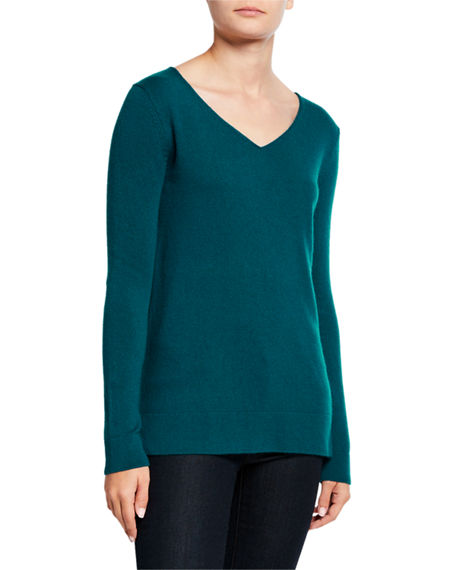 Neiman Marcus Cashmere Collection V-Neck Long-Sleeve Modern Cashmere Sweater