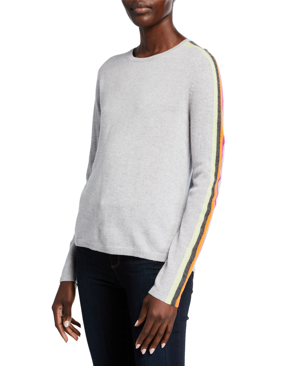 The Racer Cashmere Sweater w/ Striped Sleeves