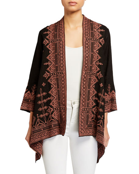 Johnny Was Eyal Draped Linen Cardigan