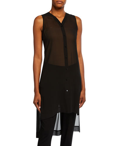 Sleeveless Button-Front Sheer Silk Tunic