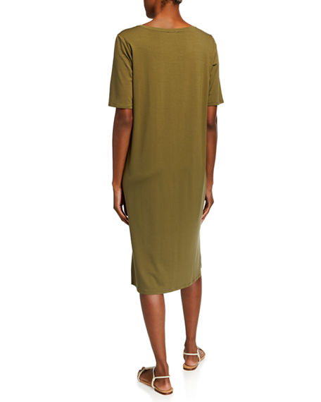 Image 2 of 2: Eileen Fisher Short-Sleeve Calf-Length Side-Slit Jersey Dress