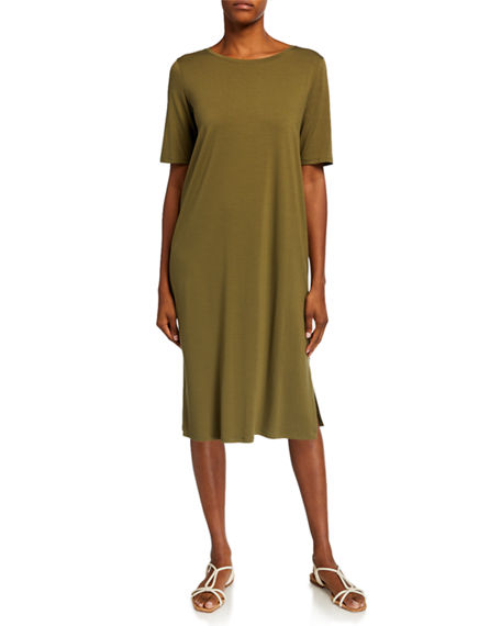 Image 1 of 2: Eileen Fisher Short-Sleeve Calf-Length Side-Slit Jersey Dress