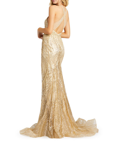 Image 2 of 2: Mac Duggal Bead Embellished Cross-Back Thigh-Slit Trumpet Gown