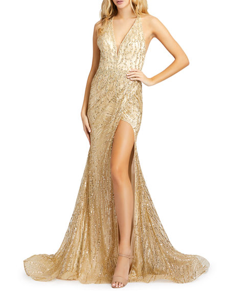 Image 1 of 2: Mac Duggal Bead Embellished Cross-Back Thigh-Slit Trumpet Gown