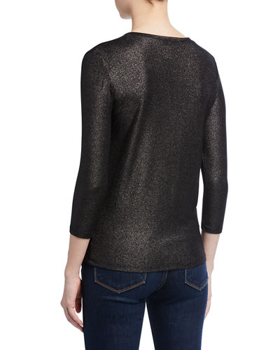 Majestic Filatures Metallic Soft Touch 3/4-Sleeve Henley Top