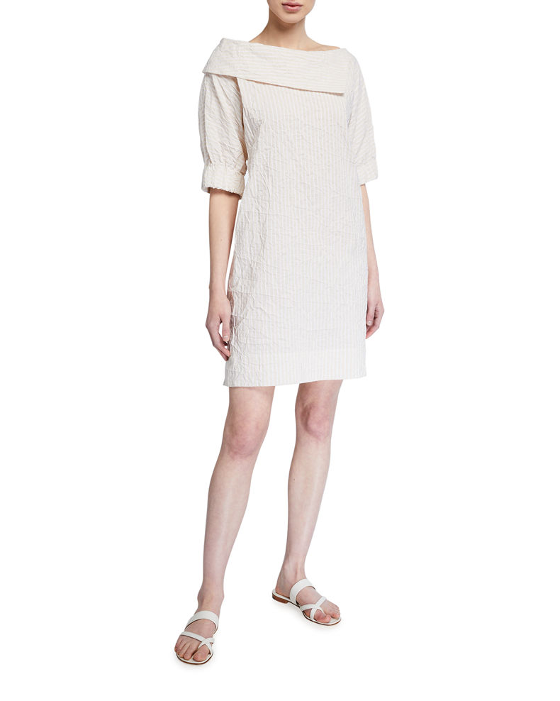 Finley Skipper Textured Stripe Elbow-Sleeve Dress