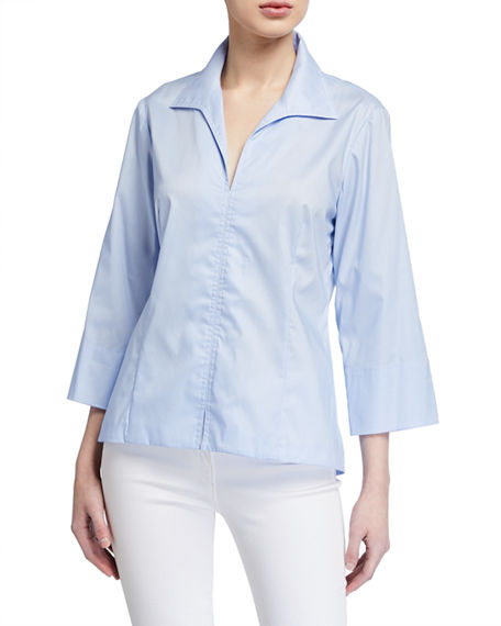 Image 1 of 2: Finley 3/4-Sleeve Stretch Cotton Swing Shirt