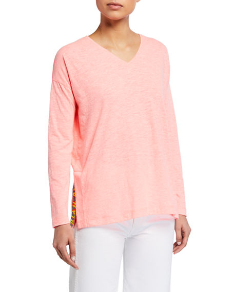 Lisa Todd Plus Size Too Much Talk Long-Sleeve V-Neck Slub Tee