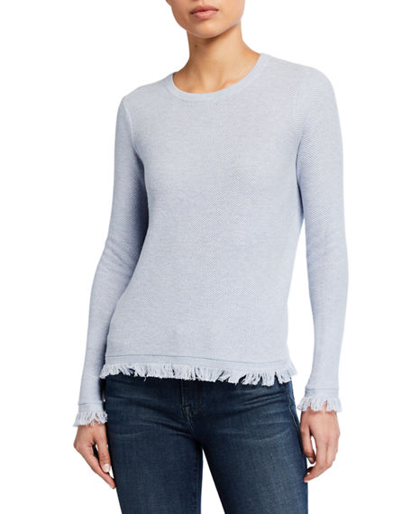 Lisa Todd Twiggy Long-Sleeve Frayed-Hem Sweater