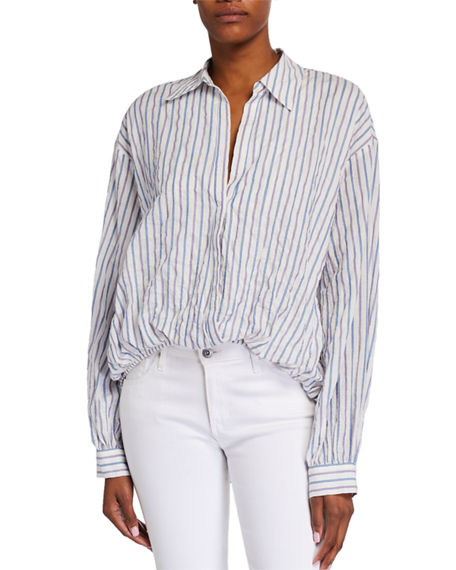cinq a sept Lillian Striped Long-Sleeve Top