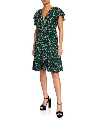 Avaya Printed Flounce Wrap Dress