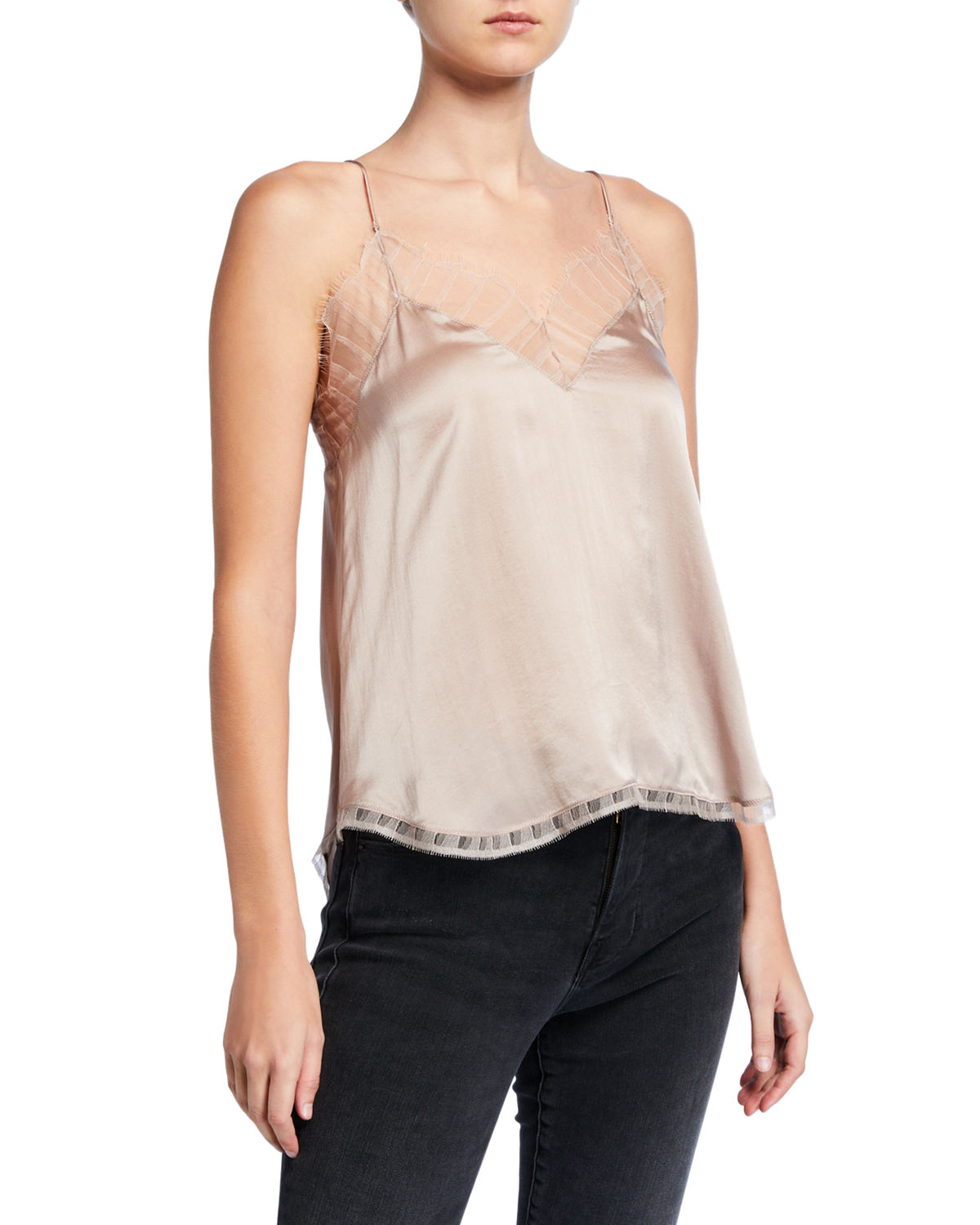 Iro Tops BERWYN SILK CAMI WITH LACE TRIM