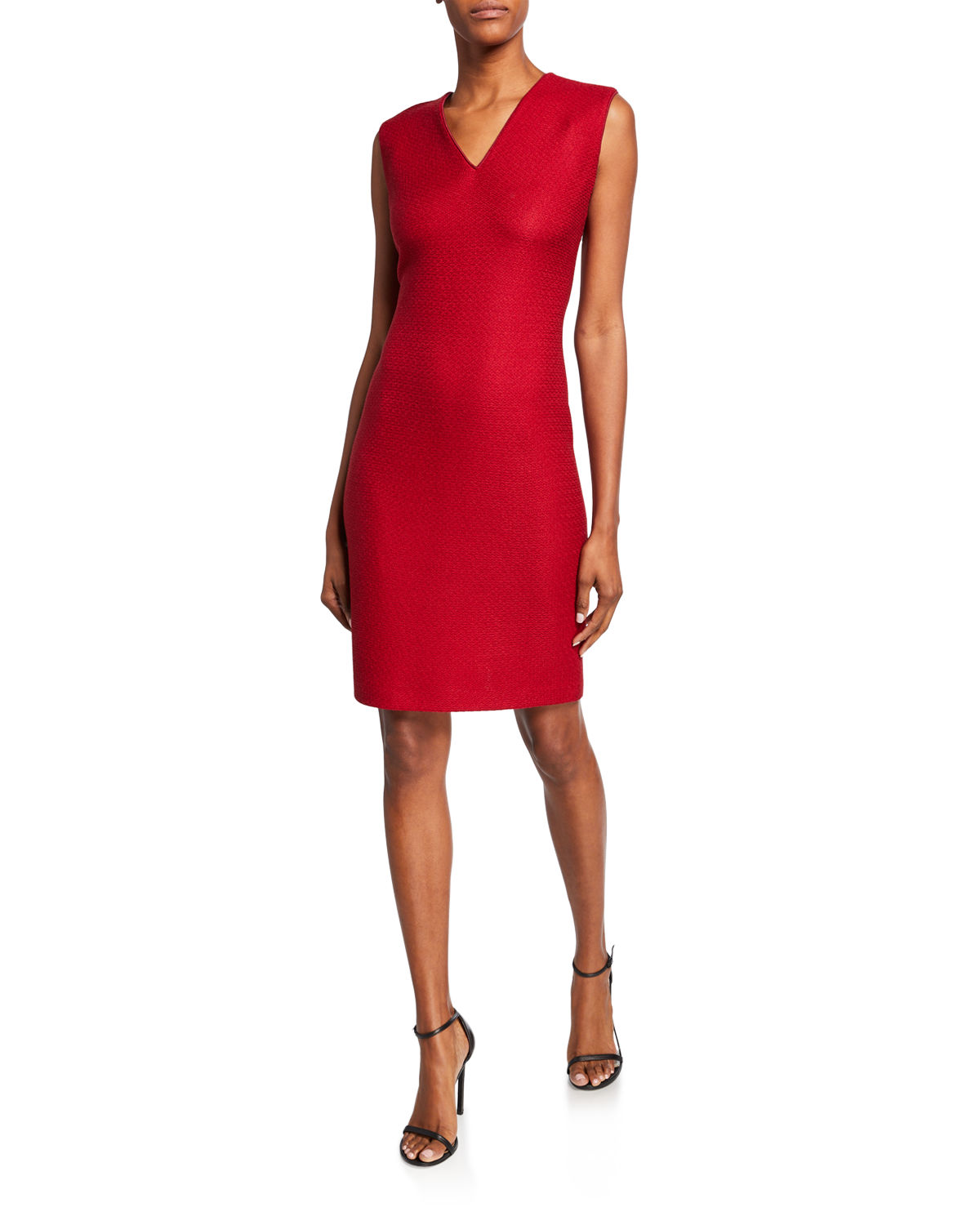St. John Dresses V-NECK SLEEVELESS REFINED TEXTURED FLOAT KNIT DRESS W/ PIPING