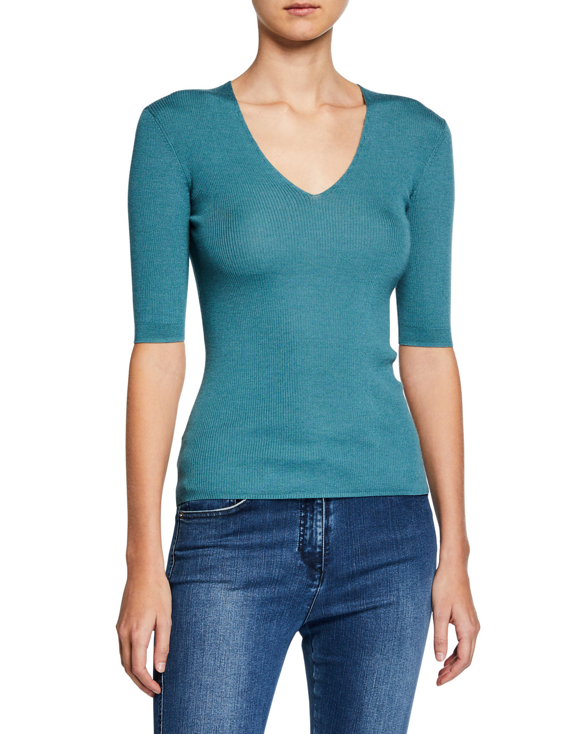 St. John Knits RIB KNIT FITTED TOP