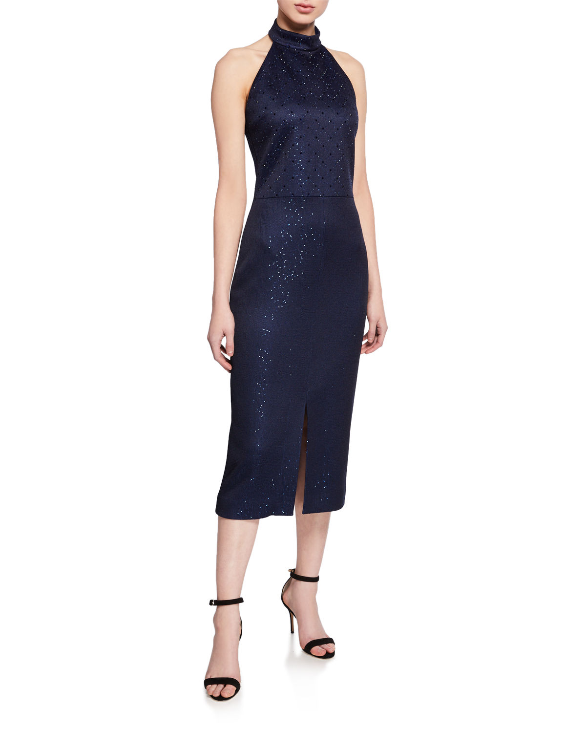 St. John Dresses SEQUIN BIRDSEYE HATER DRESS WITH FRONT SLIT