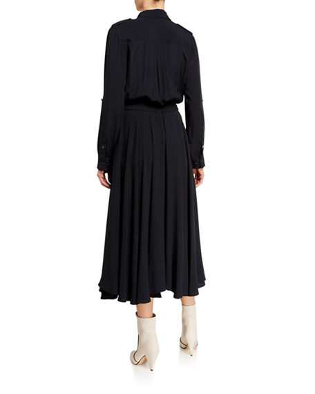 Image 2 of 2: Equipment Jacquot Long-Sleeve Tie-Waist Midi Shirtdress