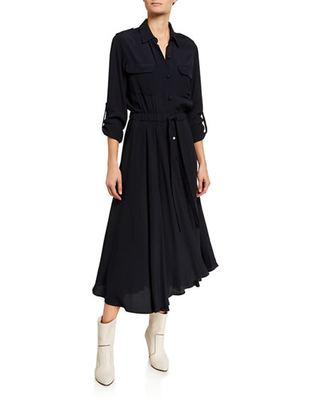 Image 1 of 2: Equipment Jacquot Long-Sleeve Tie-Waist Midi Shirtdress
