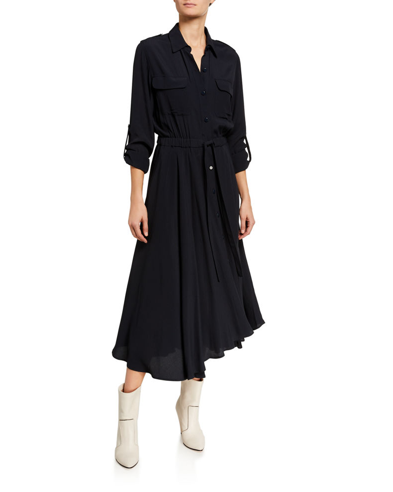 Equipment Jacquot Long-Sleeve Tie-Waist Midi Shirtdress