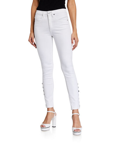 Veronica Beard Kate High Rise Skinny Jeans with Snaps