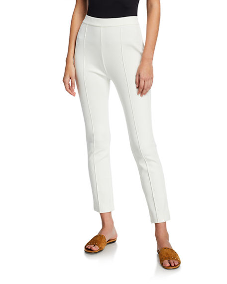 Joan Vass Plus Size Ankle Pants with Front Seam Detail