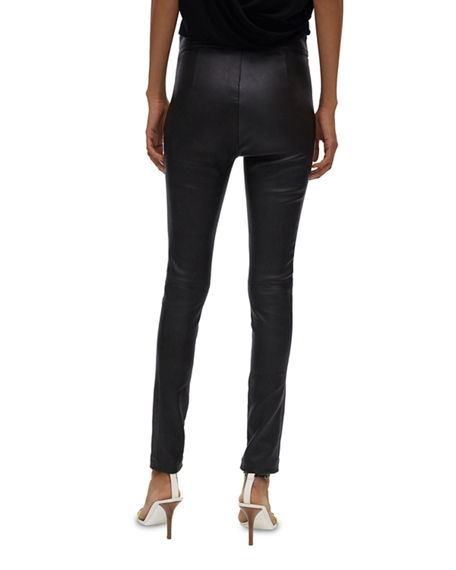 Image 3 of 4: Helmut Lang Zip Leather Leggings