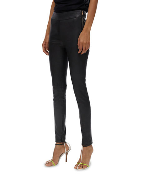 Image 1 of 4: Helmut Lang Zip Leather Leggings
