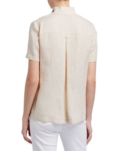 Lafayette 148 New York Bourne Illustrious Linen Button-Down Blouse