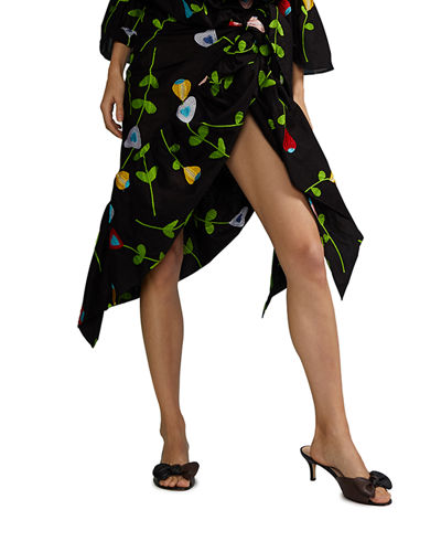 Cynthia Rowley Marea Floral Embroidered Sarong Skirt