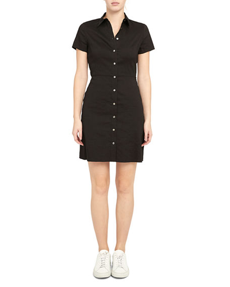 Image 2 of 4: Theory Button-Down Short-Sleeve Shirtdress