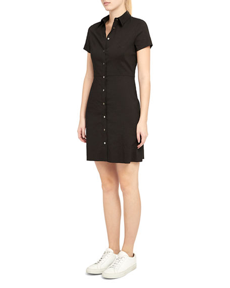 Image 4 of 4: Theory Button-Down Short-Sleeve Shirtdress