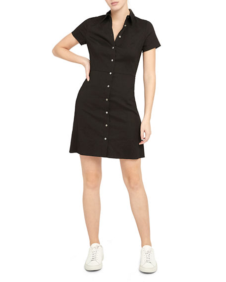 Image 1 of 4: Theory Button-Down Short-Sleeve Shirtdress