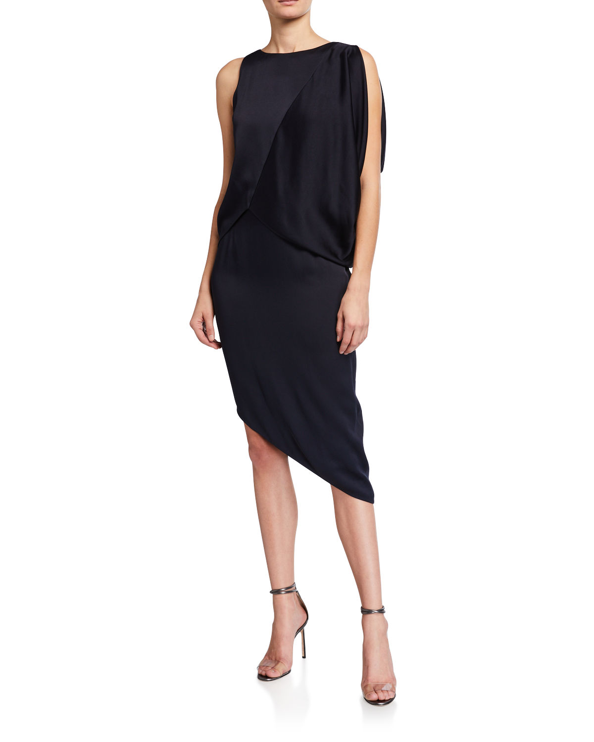 Halston DRAMATIC DRAPE SLEEVELESS COCKTAIL DRESS