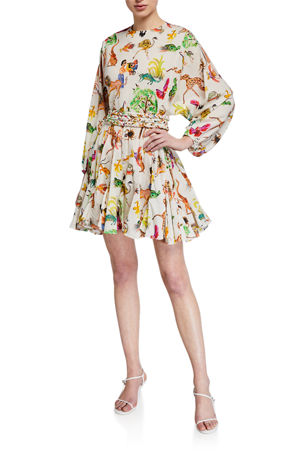 Rhode Ella Printed Long-Sleeve Dress