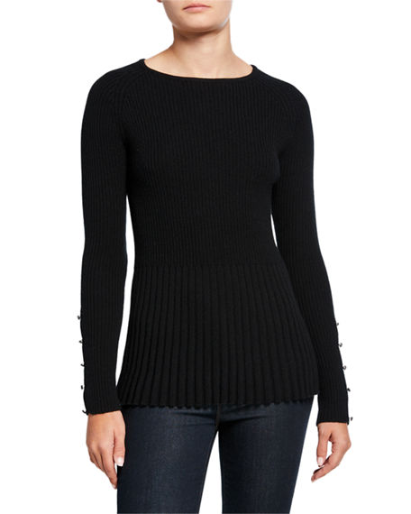 Neiman Marcus Cashmere Collection Ribbed Cashmere Peplum Sweater w/ Button Sleeve Detail