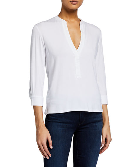 Majestic Filatures V-Neck 3/4-Sleeve Relaxed Tee