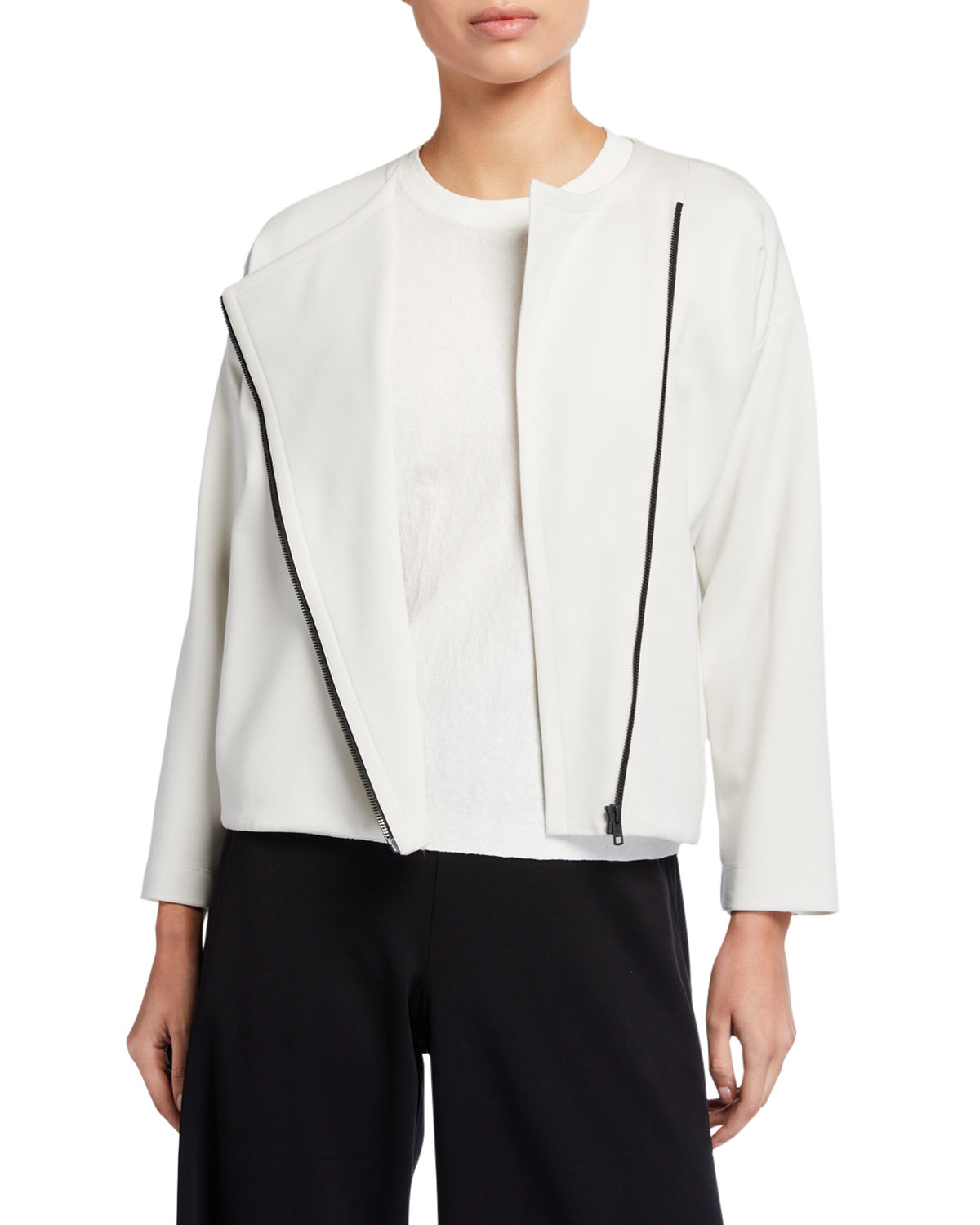 Eileen Fisher Flex Lyocell Ponte Zip-Front Jacket