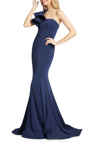 Mac Duggal One-Shoulder Ruffle Trumpet Gown