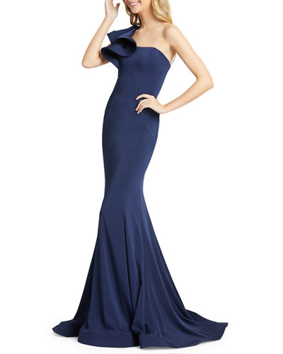 One-Shoulder Ruffle Trumpet Gown