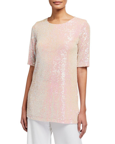 Caroline Rose Plus Size Sequin Knit Easy Tee
