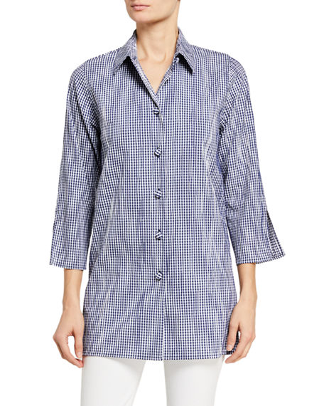 Caroline Rose Plus Size Gingham Crinkled Tunic Shirt