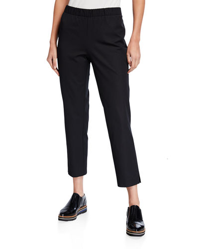Organic Cotton Stretch Twill Side Slit Ankle Pants