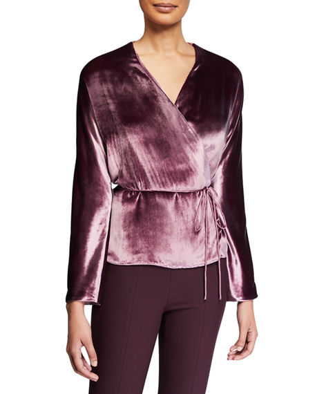 Vince Panne Long-Sleeve Velvet Wrap Top