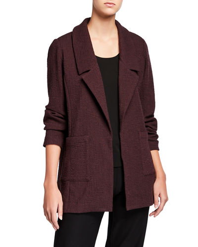 Pucker Notch Collar Open-Front Jacket