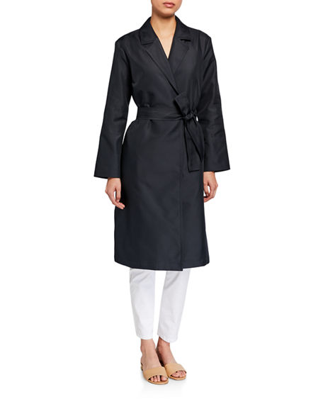 Eileen Fisher Petite Recycled Polyester Twill Belted Trench Coat