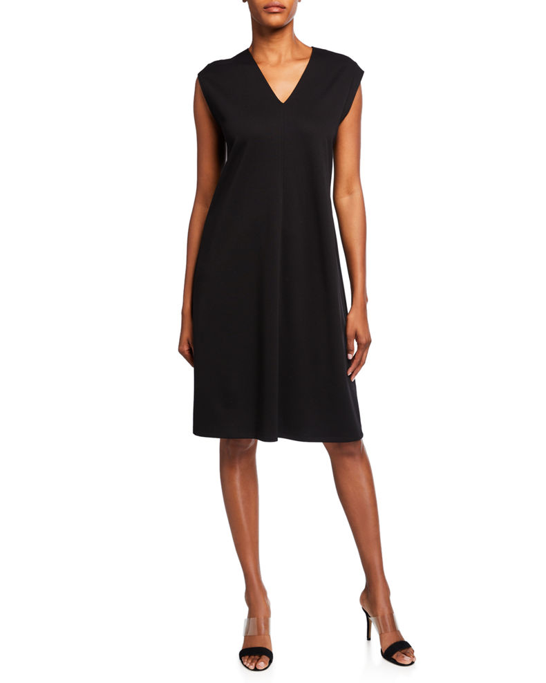 Eileen Fisher V-Neck Sleeveless Flex Ponte Dress