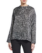 Eileen Fisher Prism Print Funnel-Neck Silk/Organic Cotton Box