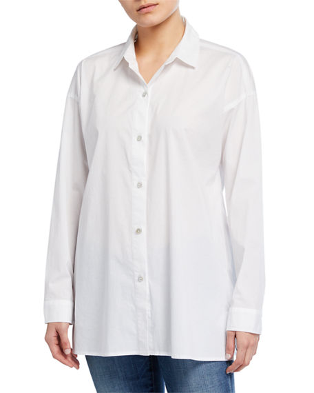 Eileen Fisher Petite Collared Cotton Lawn Swing Top