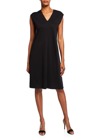 Eileen Fisher Petite V-Neck Sleeveless Flex Ponte Dress