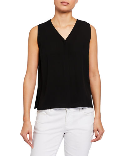 Silk Crepe V-Neck Button-Front Sleeveless Top